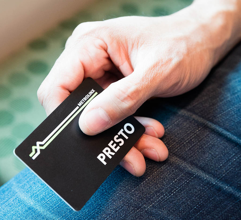 Image of a hand holding a black presto card