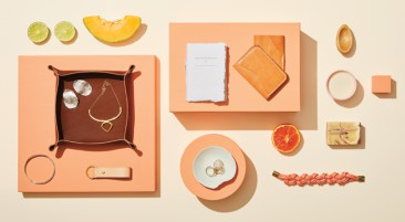A collection of jewellery displayed amongst slices of fruit