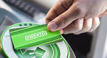 PRESTO card being tapped on transit