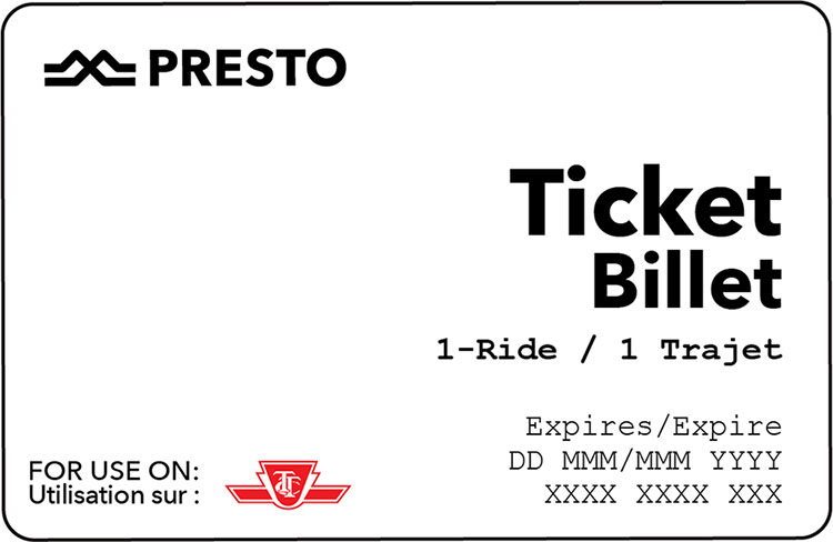 A Sample Presto Ticket. 1-Rife. For use on TTC. Expires on a specific day.